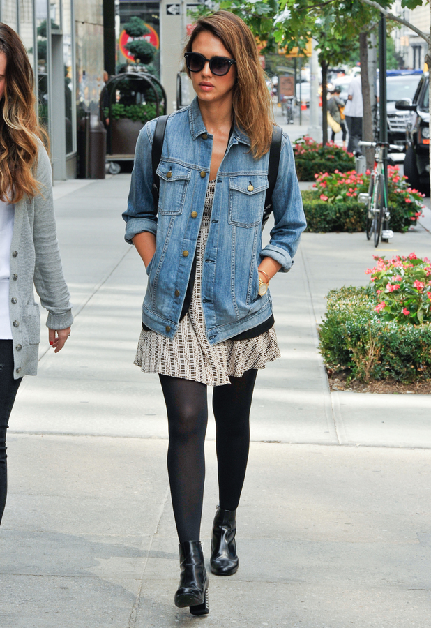 Jessica Alba wears a denim jacket while out in New York, America - 11 September 2014