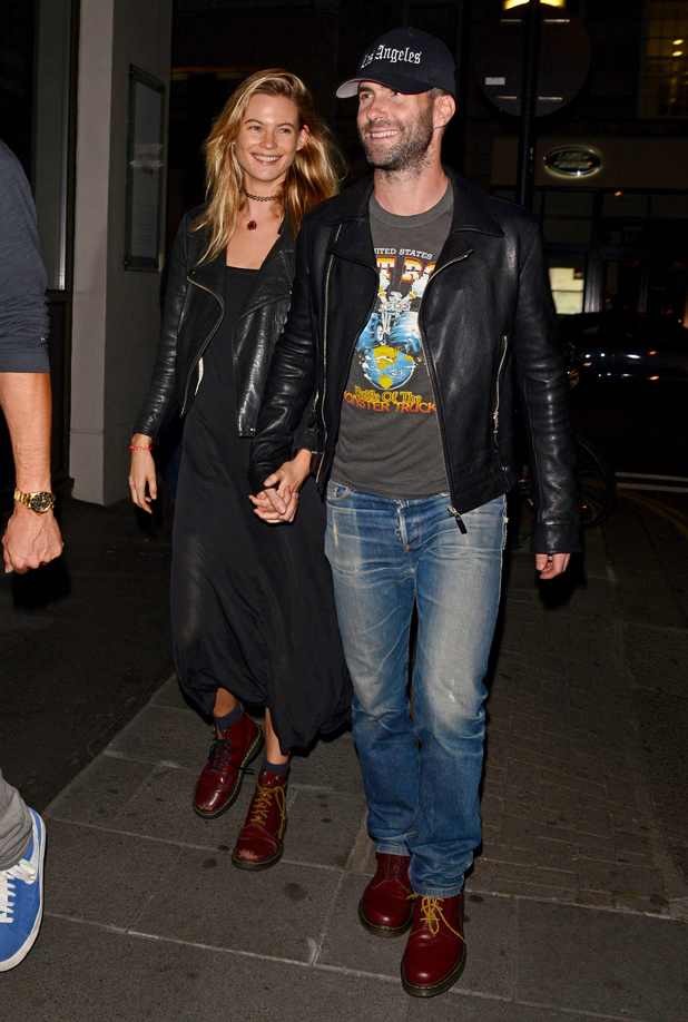 Adam Levine, Behati Prinsloo and Maroon 5 out and about, London, Britain - 10 Sep 2014