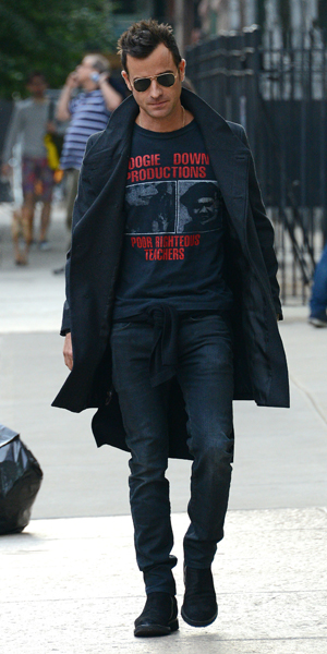 Justin Theroux seen out for a walk in the East Village in New York City