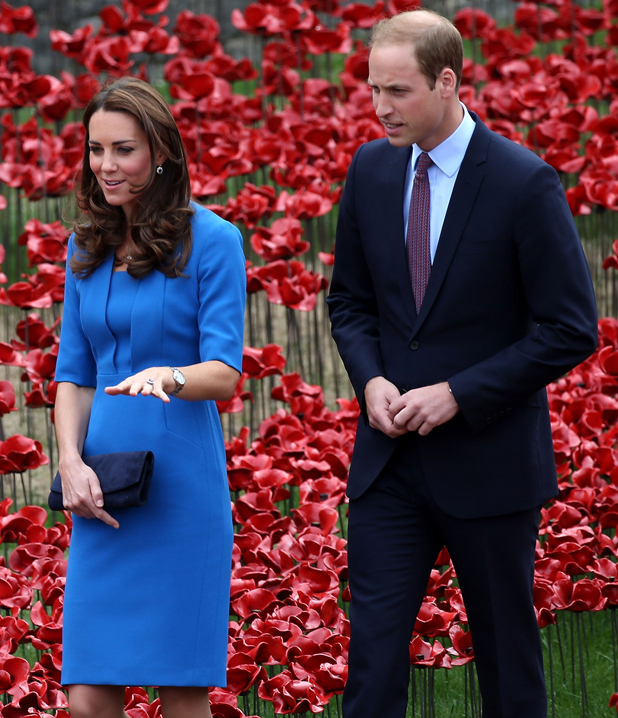 Catherine, Duchess of Cambridge and Prince William, Duke of Cambridge attend the ceramic poppy field of remembrance at Tower of London on August 5, 2014 in London, England.