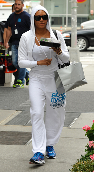 Mel B leaving her hotel for a workout in a Soul Cycle outfit, 9 September 2014