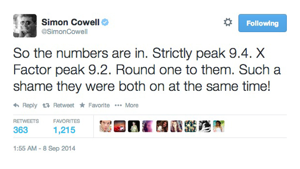 Simon Cowell reacts to Strictly beating X Factor in ratings on Sunday, 7 September