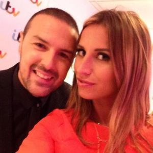 TOWIE&#39;s Ferne McCann with Take Me Out</em> host Paddy McGuinness at the ITV Upfronts party - 18 September.