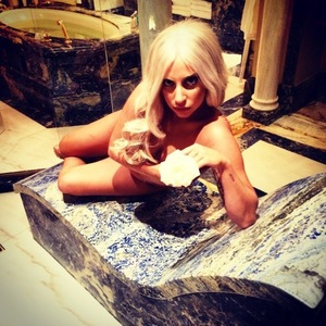 Lady Gaga goes on photo spree in her hotel in Athens, Greece. 18 September 2014.