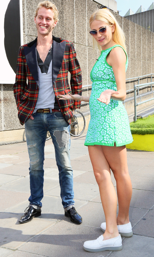 Pixie Lott and Trent Whiddon outside ISSA show, 2. 15/9/14