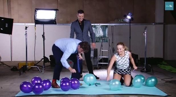 TOWIE's James 'Arg' Argent and Lydia Bright compete in a balloon challenge.