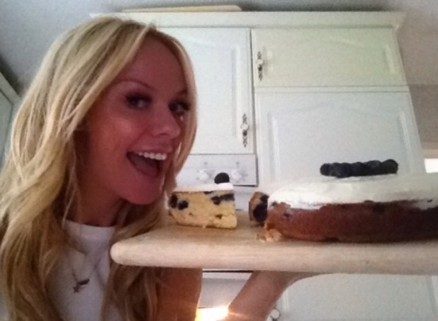 Liz McClarnon with her blueberry sour cake