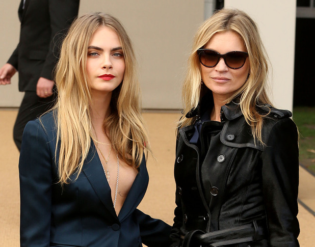 Cara Delevingne and Kate Moss attend the Burberry spring/summer '15 show at London Fashion Week - 15 September 2014