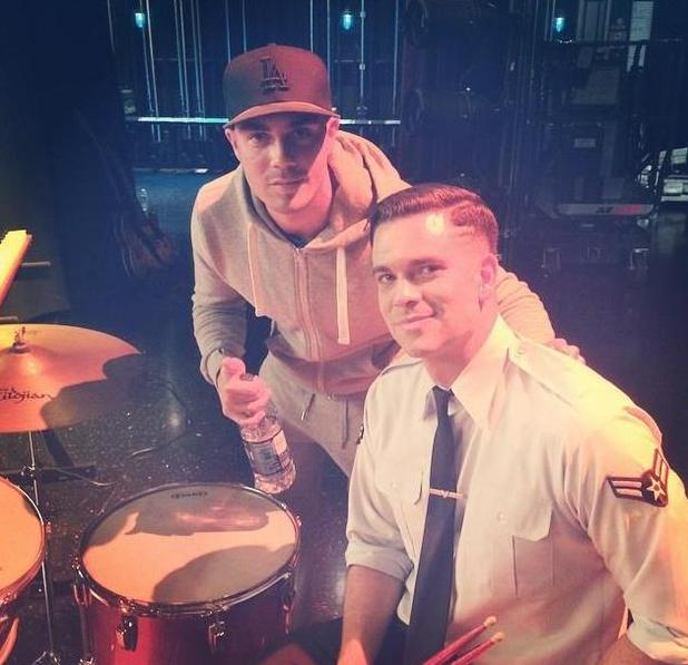 The Wanted's Max George pictured on set of Glee with Mark Salling (18 September).