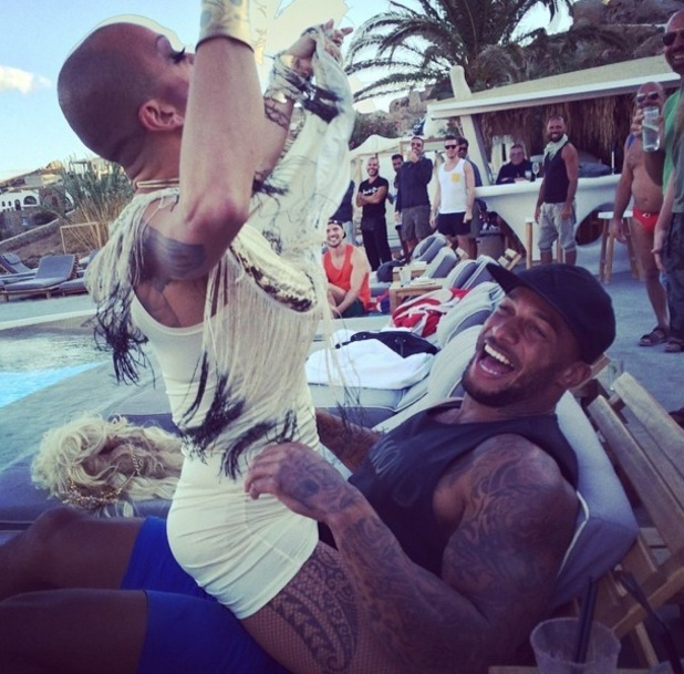 David McIntosh is hit with locals on holiday with Kelly, Mykonos, Greece 17 September