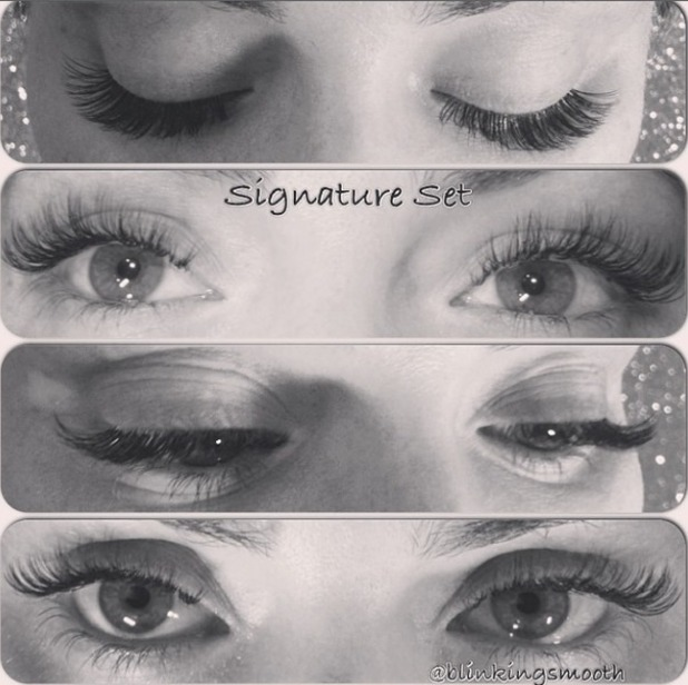 Chloe Sims shows off her new eyelash extensions by Blinking Smooth Eyelash and Waxing Lounge in Essex, 17 September 2014