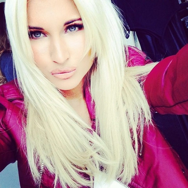 TOWIE's Billie Faiers shows off her new platinum blonde hair extensions in an Instagram picture - 18 September 2014