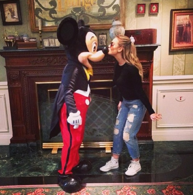 Perrie Edwards with Mickey Mouse in Disney 14 September