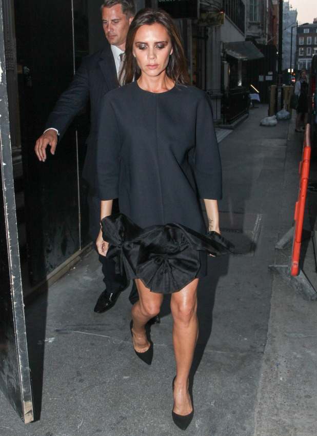 Victoria Beckham leaving her store on Dover Street after spending more than 5 hours inside, 16 September 2014