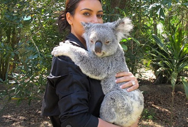 Kim Kardashian West cuddles a koala bear at Australia Zoo, 15 September 2014