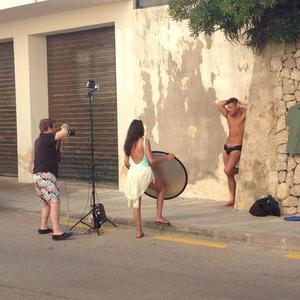 Michelle Keegan acts as fiancé Mark Wright's make-up artist during his calendar shoot, 2014