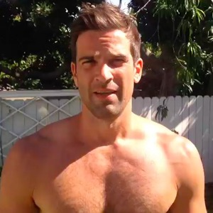 Gethin Jones prepares for his ice bucket challenge, 25 August 2014