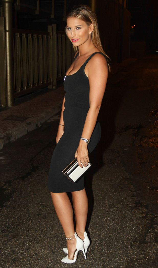 TOWIE's Ferne McCann wears a little black dress while out in Ibiza, Spain - 25 September 2014