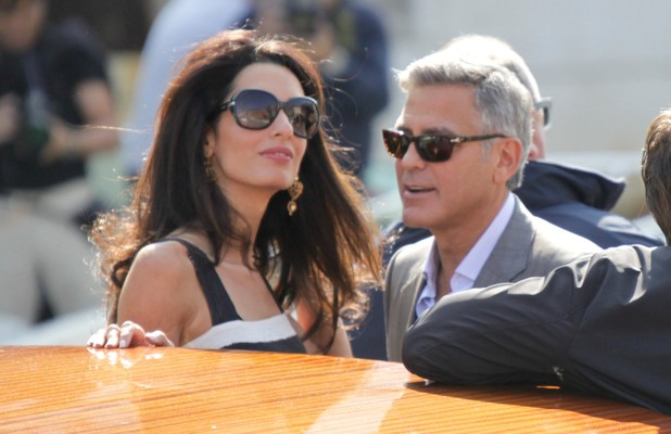 George Clooney and Amal Alamuddin arrive in Venice ahead of their wedding, 26 September 2014
