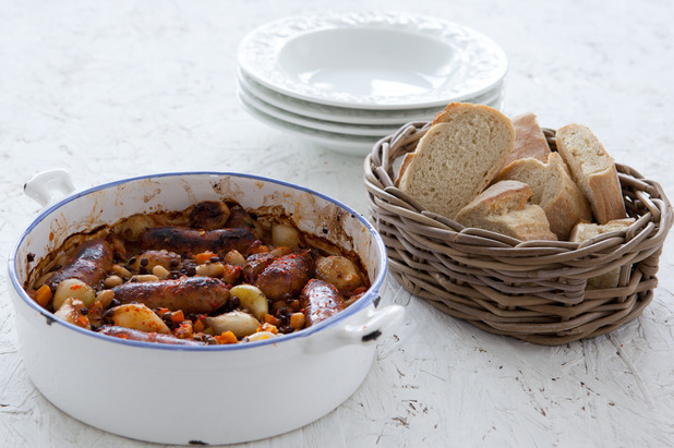 Chilli sausage and lentil casserole