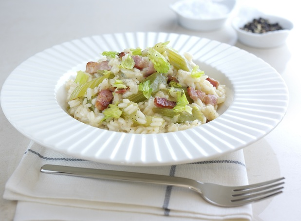 Celery, cheese and bacon risotto