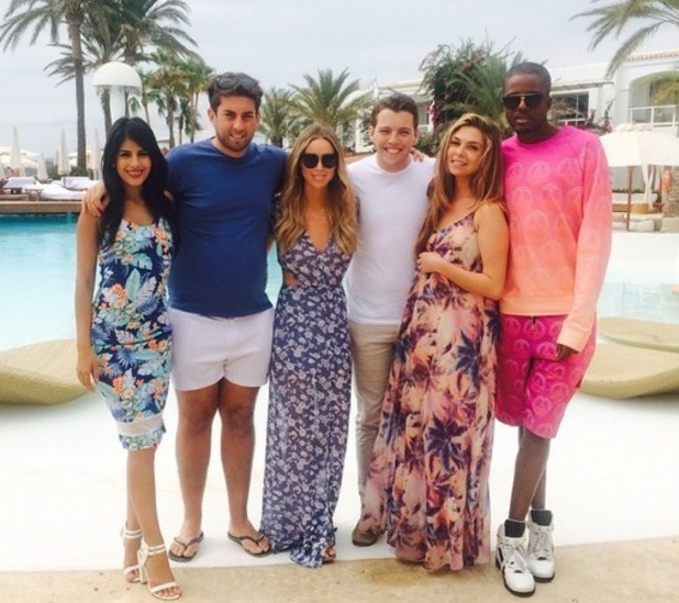 Lauren Pope, Vas J Morgan, Jasmin Walia, James Arg Argent, James Diags Bennewith and Fran Parman in Ibiza, Spain 22 September