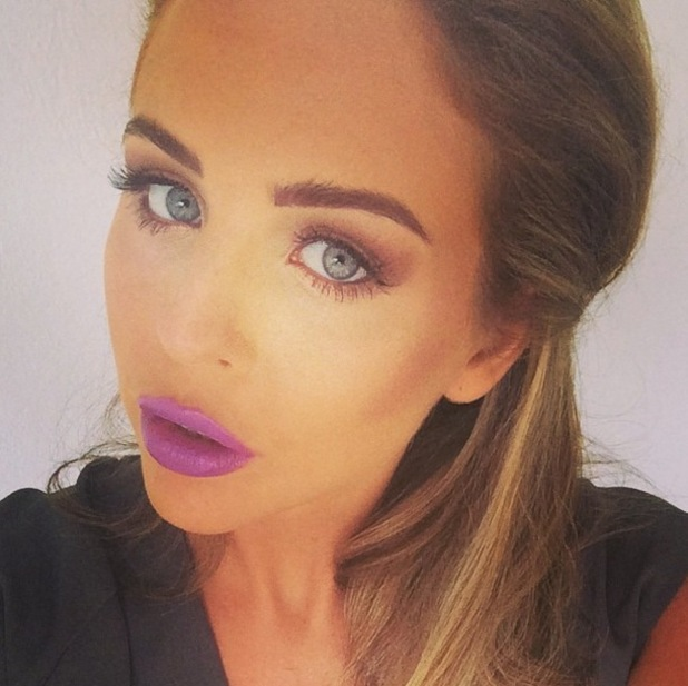 TOWIE's Lydia Bright wears purple lipstick while in Ibiza, Spain - 23 September 2014