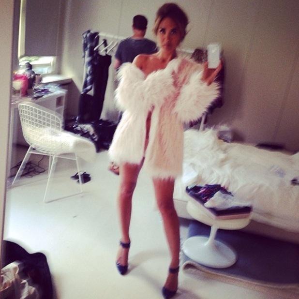 Myleene Klass strips off for saucy selfie in fur coat, Paris 25 September