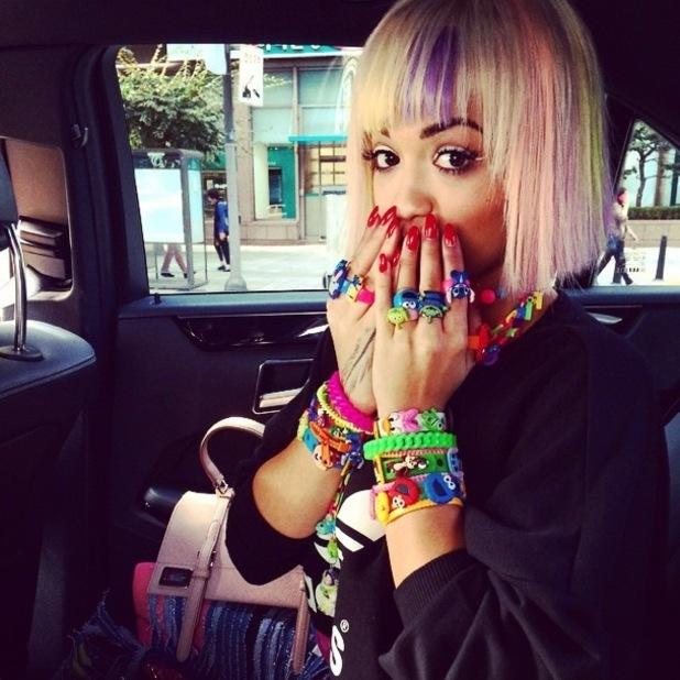 Rita Ora shows off her new multicoloured bob hairdo in an Instagram picture - 23 September 2014