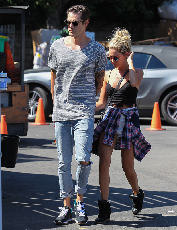 Ashley Tisdale and Christopher French hold hands as they go shopping in Studio City, LA 21 September