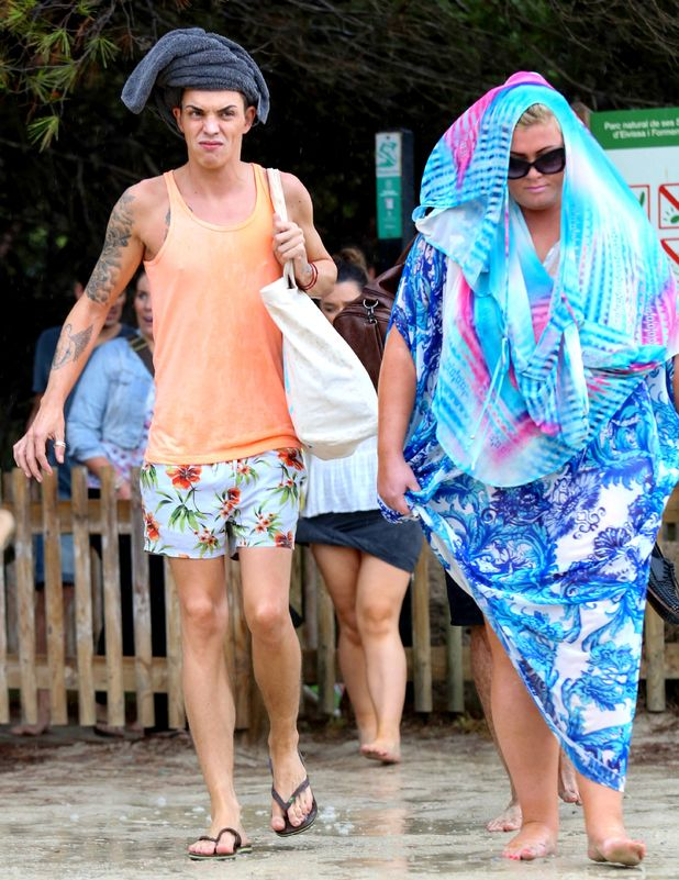 TOWIE, Bobby Norris and Gemma Collins caught in the rain in Ibiza, Spain 22 September