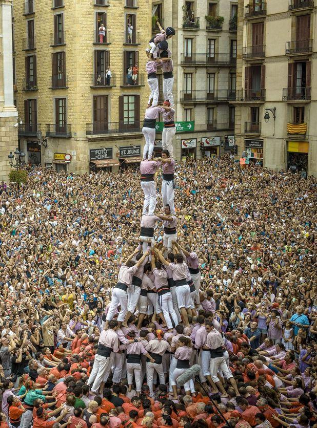 Human tower at La Merce Festival, 21 September 2014