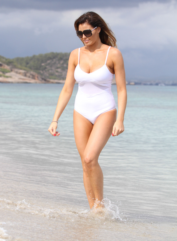 Jess Wright at the beach in Ibiza with Ricky Rayment and Bobby Norris, Ibiza, Spain 24 September