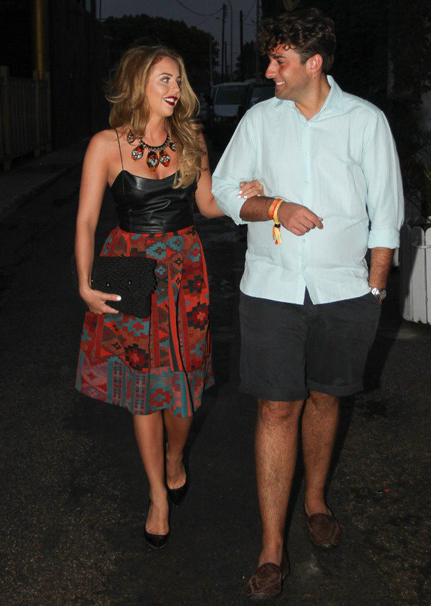 Lydia Bright and James Arg Argent en roue to Es Paradis, Ibiza, Spain 25 September