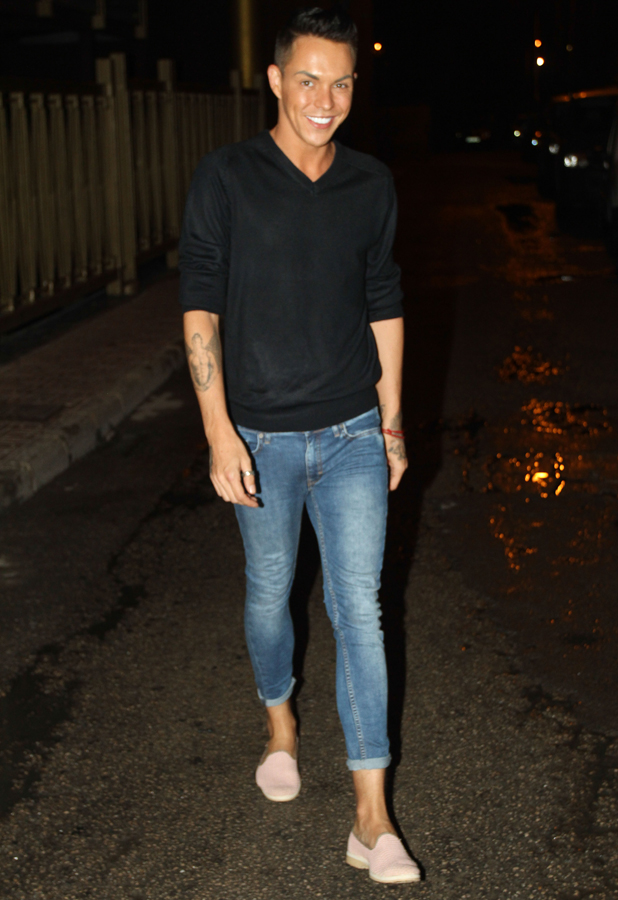 The Only Way Is Essex cast arrive for a night out at Es Paradis, Ibiza, Spain - 25 Sep 2014 Bobby Cole Norris