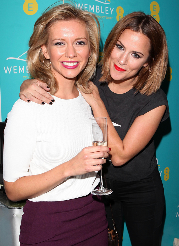 Caroline Flack and Rachel Riley at Hilton London Wembley on September 23, 2014 in Wembley, England. EE transforms Wembley Arch with a spectacular light show to celebrate their partnership at an event last night.