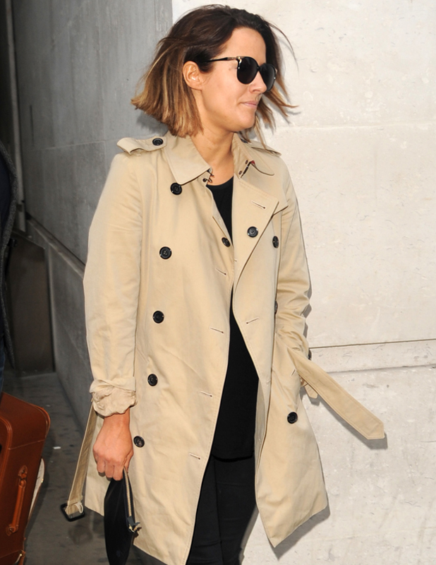 Caroline Flack outside BBC Radio 1 ahead of her Strictly Come Dancing debut, 26 September 2014