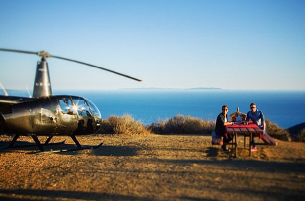 Tom Daley surprises Dustin Lance Black with romantic helicopter ride and mountain top picnic, LA, 25 September 2014