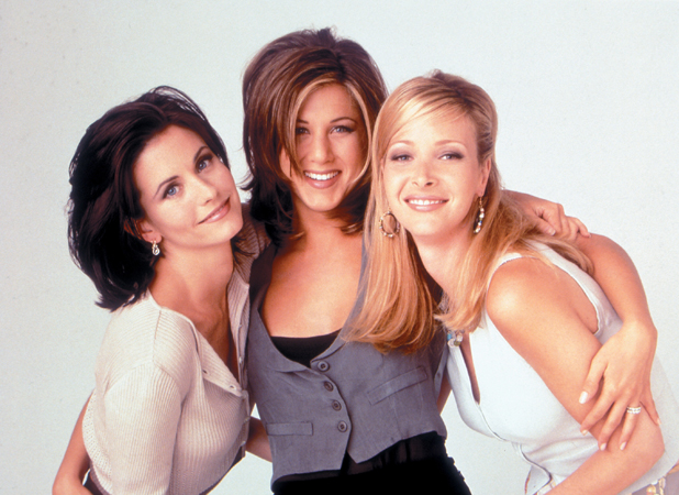 Courteney Cox (as Monica Geller), Jennifer Aniston (as Rachel Green), Lisa Kudrow (as Phoebe Buffay) Friends (NBC) season 2, 1995