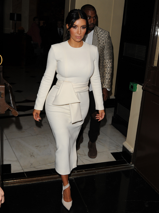Kim Kardashian and Kanye West leaving Dorchester Hotel, London, 23 September 2014