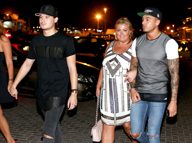 The Only Way is Essex cast arrive for dinner at Lio's, Ibiza, Spain - 21 Sep 2014 Charlie Sims, Gemma Collins and Mario Falcone