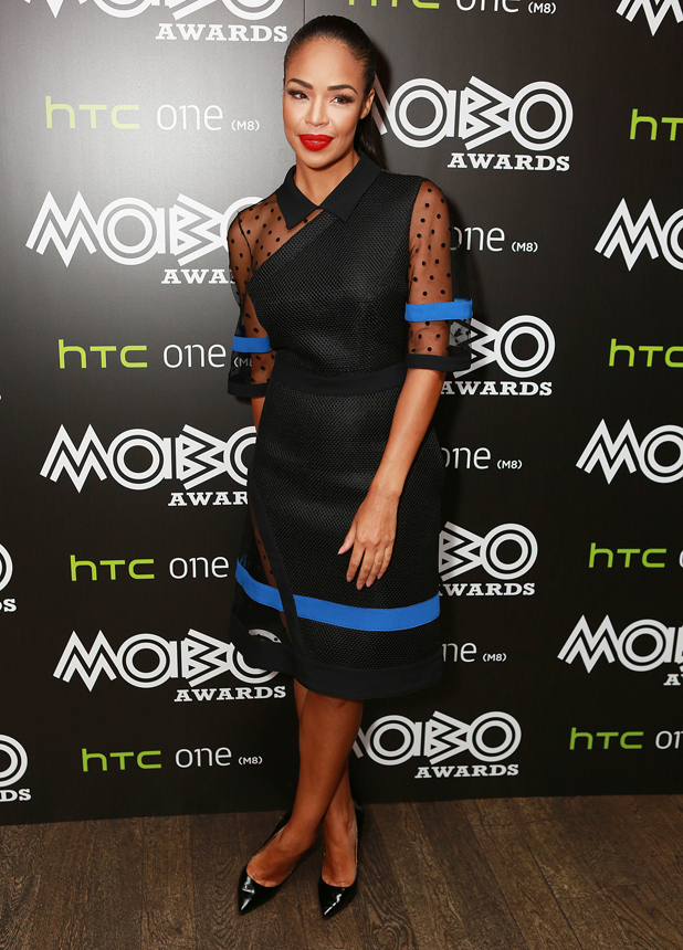 Presenter Sarah-Jane Crawford at the MOBO Awards nominations launch at Ronnie Scott's Jazz Club on September 23, 2014 in London, England.