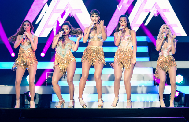 English-Irish girl group The Saturdays perform their largest show to date on their first arena tour at the SSE Arena, Wembley, 2014