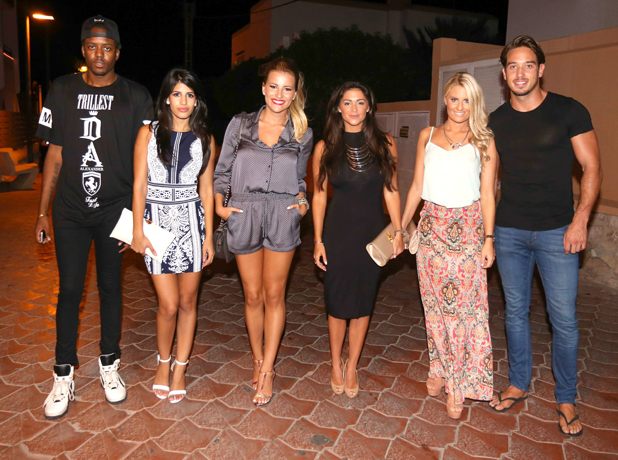 Vas J Morgan, Jasmine Walia, Georgia Kousoulou, Casey Bachelor, Danielle Armstrong and James Lock - The Only Way is Essex cast arrivals at Ocean beach club, Ibiza, Spain - 21 Sep 2014