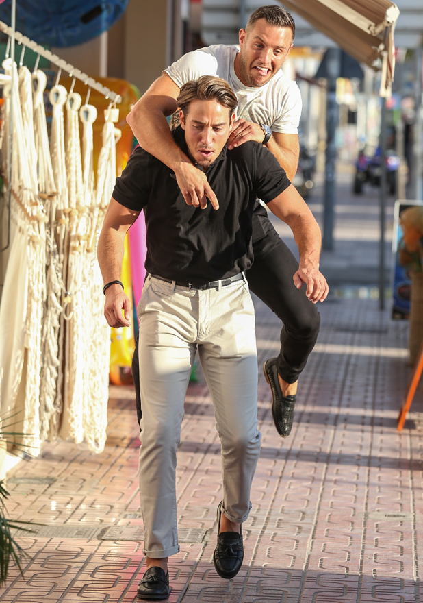 The Only Way Is Essex cast in Ibiza, Spain - 23 Sep 2014 James 'Lockie' Lock and Elliott Wright mess around 23 Sep 2014
