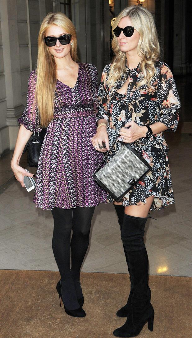 Paris Hilton and Nicky Hilton attend Paris Fashion Week - France - 27 September 2014