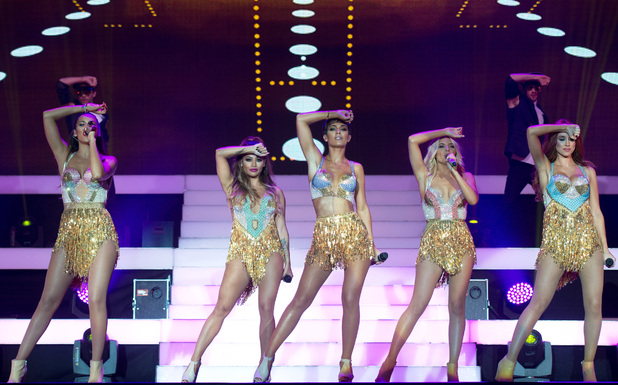 English-Irish girl group The Saturdays perform their largest show to date on their first arena tour at the SSE Arena, Wembley, 19 September 2014