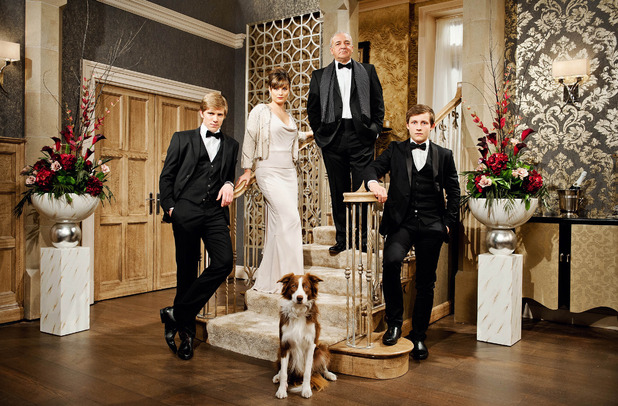 New Emmerdale family coming into the soap in the autumn - October 2014.Ryan Hawley who plays Robert Sugden: Louise Marwood who plays Chrissie White: John Bowe who plays Lawrence White: Thomas Atkinson who plays Lachlan White: plus the family dog called Dog.