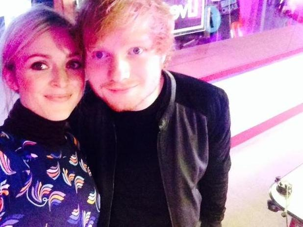 Ed Sheeran takes selfie with Fearne Cotton at Radio 1 studios. 09/29/2014 London, United Kingdom