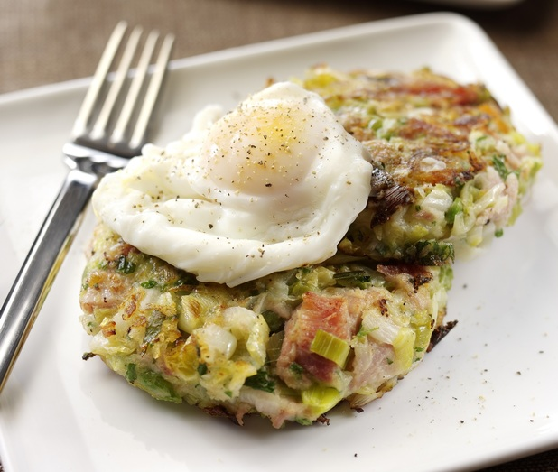 Sophie Wright's Leek and pulled ham bubble and squeak with poached egg
